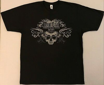 MEAT LOAF Three Bats Tour VIP Size Large Black T-Shirt (B)