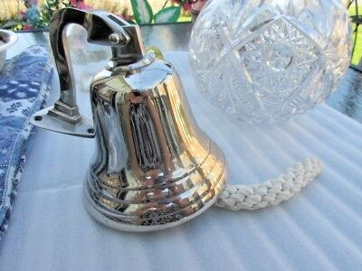 """#44 wow vtg hanging bell silver metal  solid ship bell 6.5""""in tall 6""""in wide"""