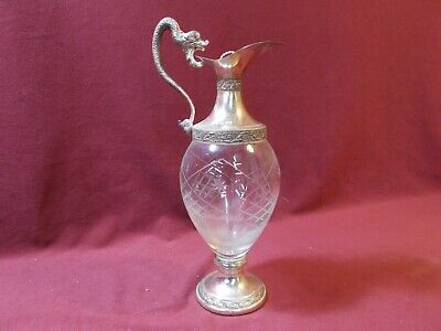 Vintage Bologna Italia Crystal and Silver Plate Serpent Dragon Decanter Antique