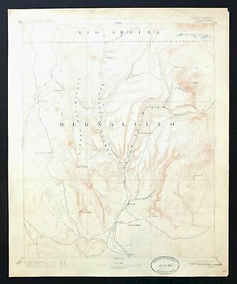 Jemez New Mexico Antique USGS Reconnaissance Topo Map 1892 Zia Pueblo Ponderosa