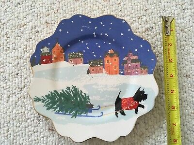 Anthropologie Emily Isabella Dessert Plate Dog Tree Gold Holiday Christmas NEW