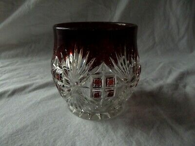 open sugar bowl, Antique EAPG pressed glass Mckee Bros Ruby Red stain Majestic