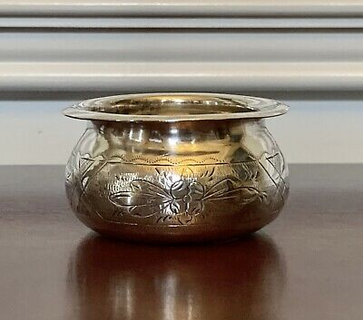 1800's ANTIQUE 84 Silver RUSSIAN IMPERIAL? SALT CELLAR ETCHED VICTORIAN