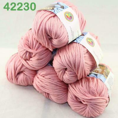 Sale Lot 6 Skeins Soft Worsted Cotton Chunky Bulky Hand Knitting Quick Yarn 30