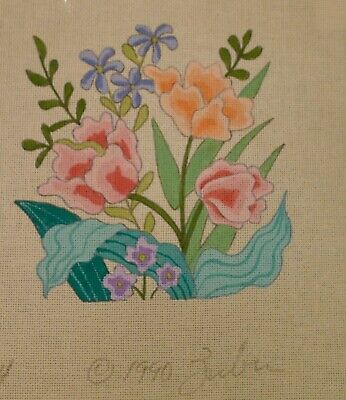 #163  Beautiful hand painted Zuber 1990 tulips needlepoint/tapestry canvas!