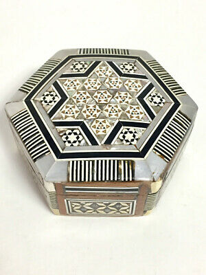 Star of David Handcrafted Wood Mother of Pearl Inlaid Mosaic Trinket Jewelry Box