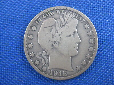 1915 D Barber Silver Half Dollar 50 Cent Coin