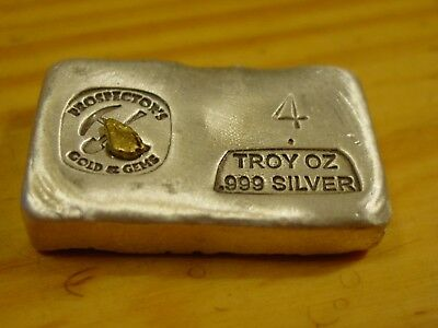 Prospector's Silver Bar With 2/5 Gram Gold Nugget 4 Troy Ounce 999 Fine Silver