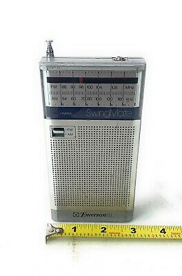 Emerson Pocket AM/FM Radio (Silver) Vintage Tested