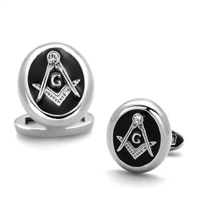 Masonic Stainless Steel 316 L Cuff link Set  With Top Grade Crystals