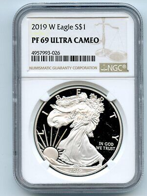 2019 W $1 American Proof Silver Eagle NGC PF69UCAM