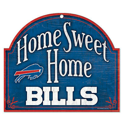 """BUFFALO BILLS HOME SWEET HOME ARCHED WOOD SIGN 10""""x11"""" BRAND NEW WINCRAFT"""