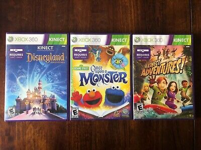 3 XBOX 360 KINECT Games: Once upon a Monster, Disneyland & KINECT ADVENTURES!