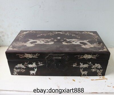 15 Old Chinese Handwork Wood inlay shell Dragon Play Bead Deer Box chest trunk