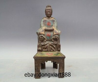 "10"" Chinese Ancient figural Purple Bronze Copper Cloisonne Women official Statue"