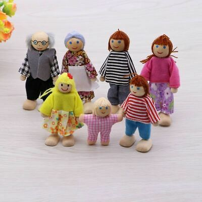 Wooden Furniture Dolls House Family Miniature 7 People Doll Kids Children Toy