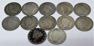 Collector Lot of 12 Liberty Nickels - All Pre-1900 & Some Better Date * Old US