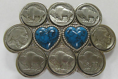 Vintage Buffalo Nickel Belt Buckle with 8 Coins & 2- Heart Stones