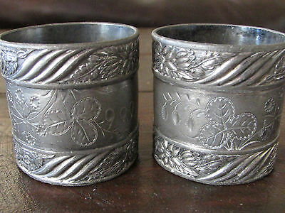 Pair Lovely Antique Victorian Silverplate Napkin Rings-Three Leaf Clover-Floral?
