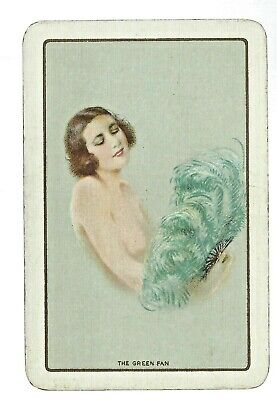 Vintage Playing Swap Card  Lady with the Feather Fan