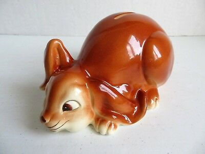 Brown Floppy Ear Rabbit Ceramic Bank made by Quon Quon in Japan 1980