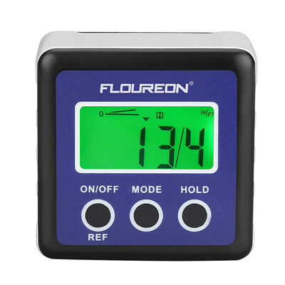 FLOUREON LCD Display Digital Bevel Box Gauge Angle Finder Protractor Waterproof