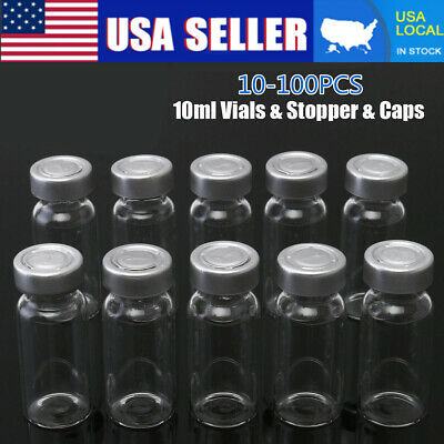 US 100Set 10ml Vials & Stopper & Caps For 20MM Hand Crimper Sealing Machine