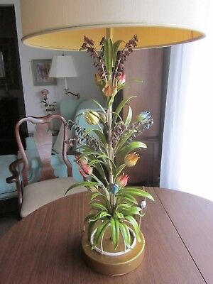 Italy Italian Tole Toleware Art Lamp Multicolored Metal Flowers VINTAGE 1960s