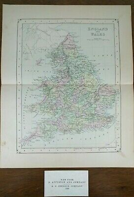 "Vintage 1896 ENGLAND - WALES Map 10""x13"" ~ Old Antique Original LONDON OXFORD"
