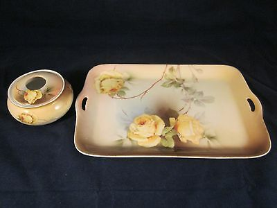 PSAG BAVARIA Hand Painted MATCHING Hair Receiver & Tray Yellow Roses ~ EXCELLENT