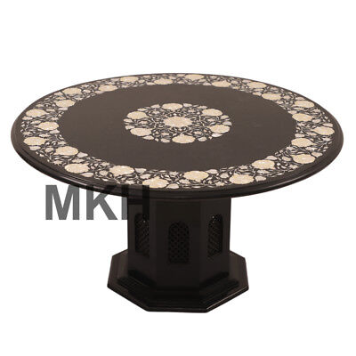 Marble Inlay End Table Top Vintage Coffee Tables Stone Mid Century Pedestal