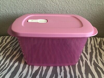 Tupperware Rectangle Crystalwave Microwave Light Pink 9.5 Cups Large New