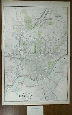 "Vintage 1903 CINCINNATI OHIO Map 14""x22"" Old Antique Original AMBERLEY MARIEMONT"
