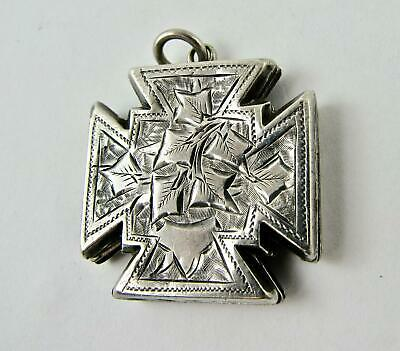 Antique Small Locket Victorian Sterling Silver Maltese Cross Fob Charm VGC