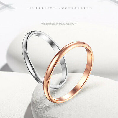2mm Thin Stackable Ring Stainless Steel Plain Band Ring Jewelry Gift Size 3-10