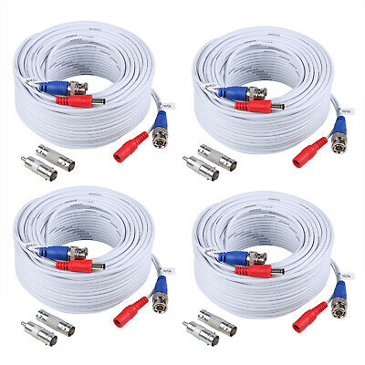 ANNKE 4pcs 100FT/30M BNC Power Cable DC Wire Black For Security Camera System