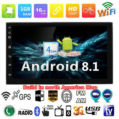 "2Din Android 8.1 7"" 1080P Quad-Core 1GB RAM 16GB ROM Car Stereo Radio 4G BT DAB"