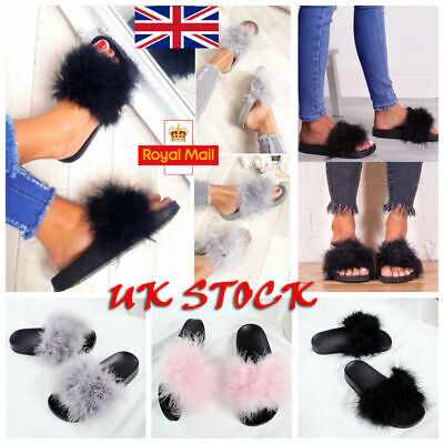 Womens Fur Fluffy Sliders Sandals Flat Comfy Slides Slippers Casual Summer Shoes