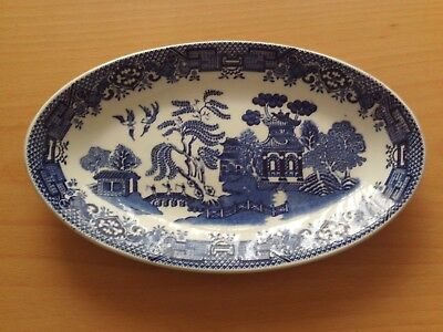 Vintage Woods Ware Willow Pattern Oval Saucer/Dish Wood & Sons