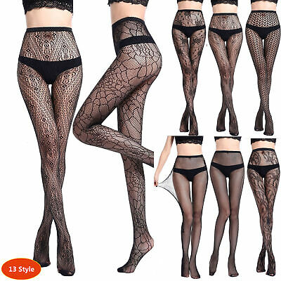 Women's Black Lace Fishnet Hollow Patterned Pantyhose Tights Stocking Lingerie D