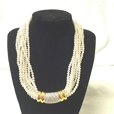 Vintage Jewellery 1980's Stunning Sterling Silver & Vermeil Faux Pearl Necklace