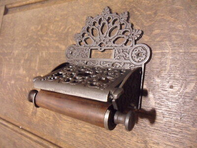 antique Gothic style cast iron finish toilet loo roll holder wall door quirky R4