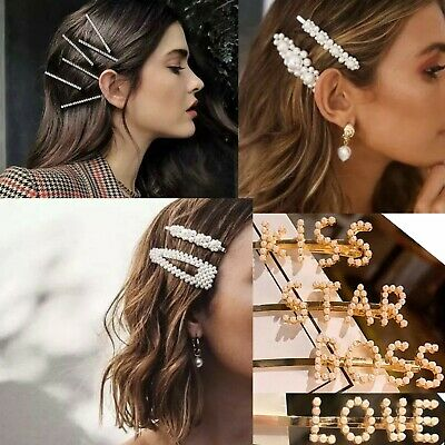 Hair Accessory Pearl Slogan Hair Clip Bridal Diamante Jewelry Party Pin Chunky