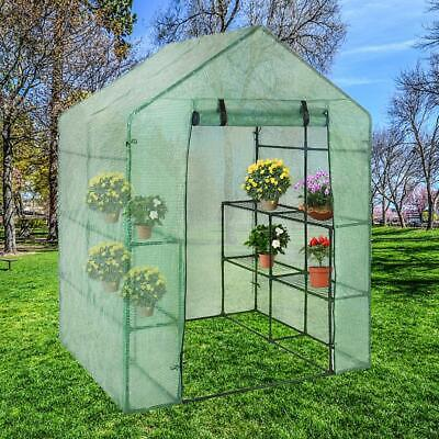4 Tier walk-in Greenhouse Frame Plant Grow Garden Outdoor Shelving PVC Cover