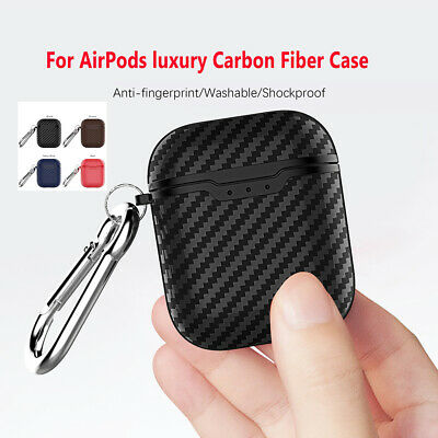 Carbon Fiber Texture Earphone Case Protective Charging Cover For Apple AirPods