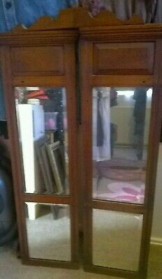 "Mirrors antique 2 panels wooden frames bevelled mirror sections 39"" tall, lovely"