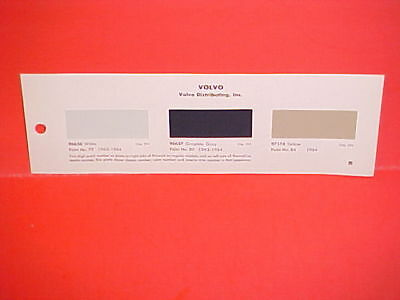 1963 1964 Volvo Pv544 P1800 122S Sedan Wagon 1800S Sport Coupe Paint Chips 63 64