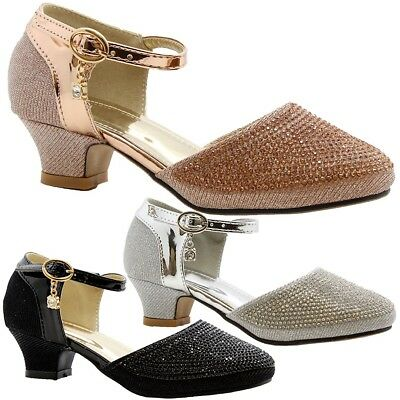 Girls Kids Low Mid Heel Mary Jane Diamante Gem Party Prom Pumps Court Shoes Size