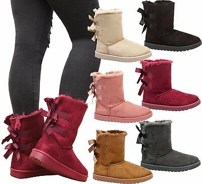 Girls Kids Winter Snow Warm Ankle Fur Lined Grip Sole Bow Snugg Shoes Boots Size