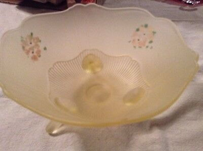 VINTAGE YeLlow SATIN FROSTED DEPRESSION GLASS 3 FEET HAND PAINTED BOWL